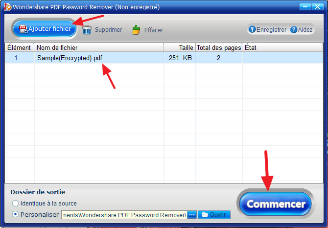wondershare pdf password remover ajouter fichier