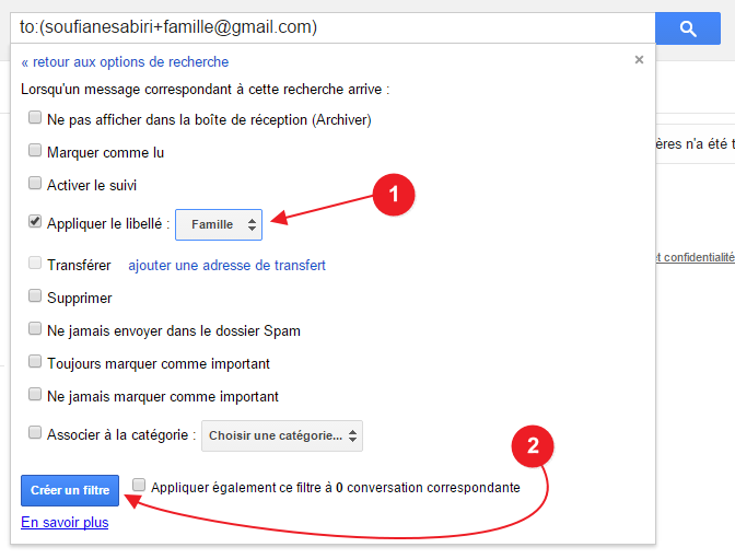 gmail creer filtre libelle