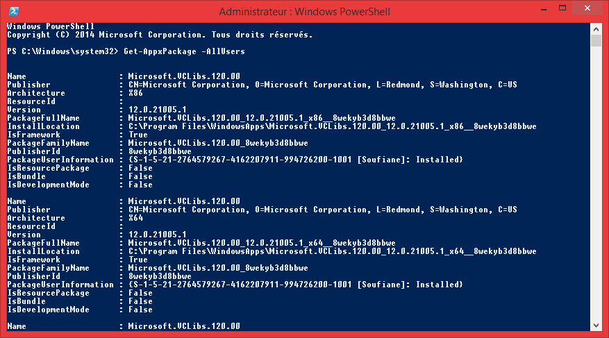 get-appxpackage powershell