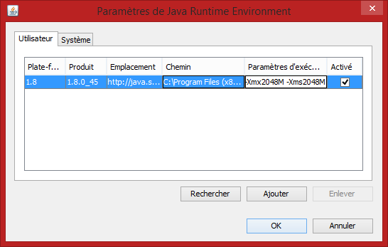 java runtime environment ram
