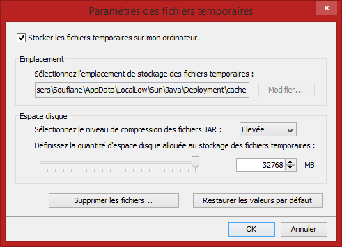 java taille fichiers temporaires