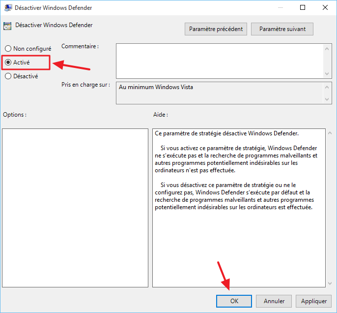 desactiver windows defender facile 3