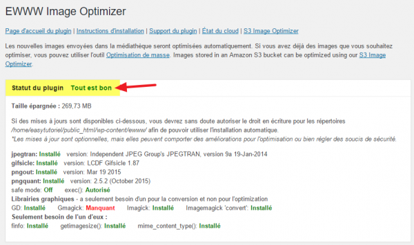 statut plugin ewww image optimizer