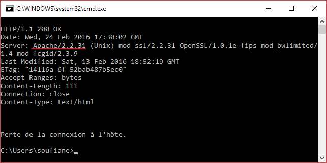 version apache telnet cmd