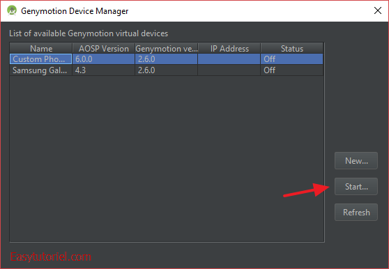 17 genymotion device manager choix terminal virtuel