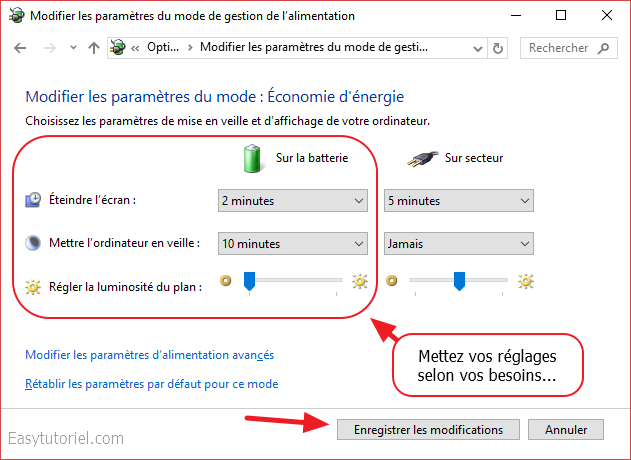6 parametres gestion alimentation windows