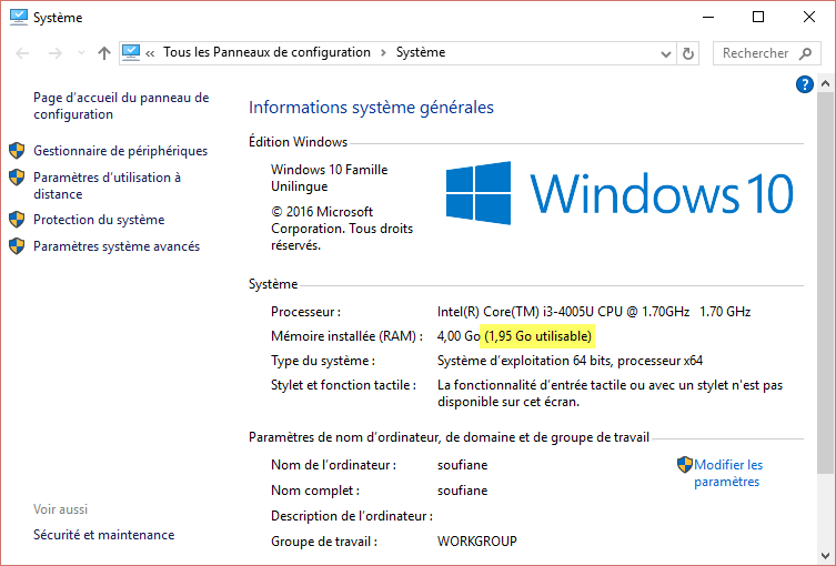 Combien memoire windows 10