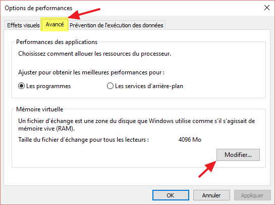 Probleme memoire ram utilisable
