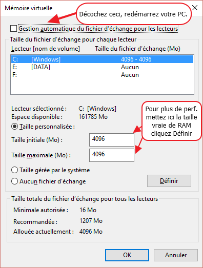 8 decocher gestion automatique du fichier d echange