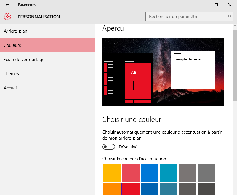 changer couleur windows 10