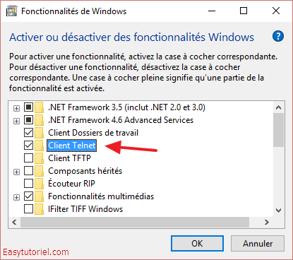 fonctionnalites windows client telnet