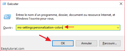 ms settings personnalization colors couleurs executer windows 10