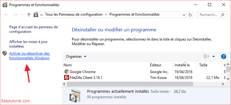 programmes fonctionnalites windows