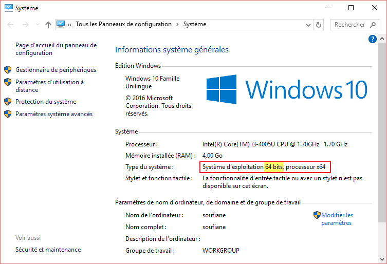 systeme windows 64bit