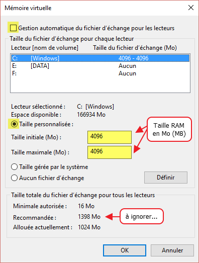 taille memoire virtuelle windows 10