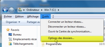 windows 7 outils options dossiers