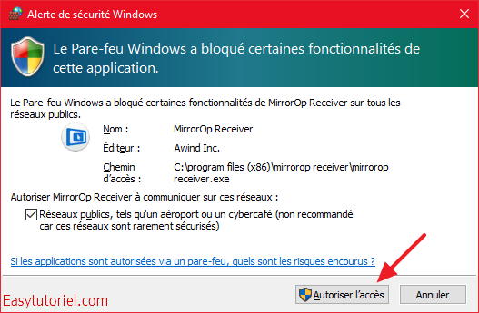 alerte securite mirrorop receiver