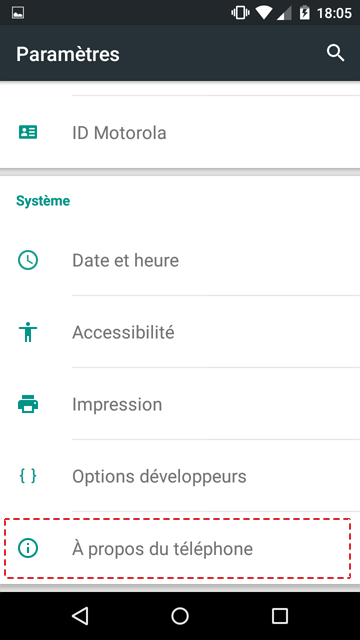 android a propos du telephone