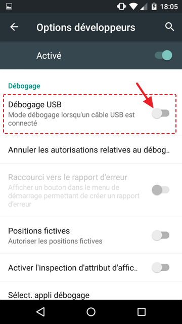 debogage USB active android