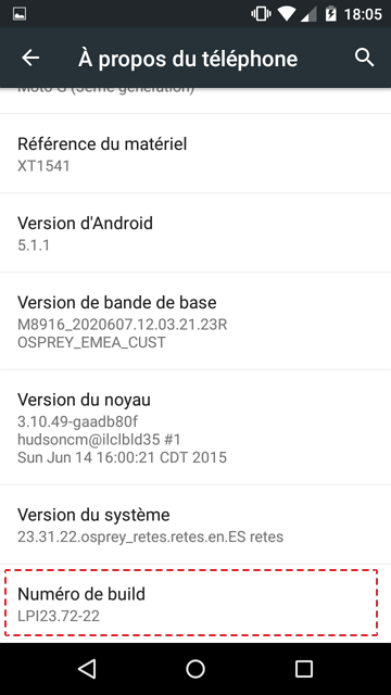 numero de build activer option developpeurs