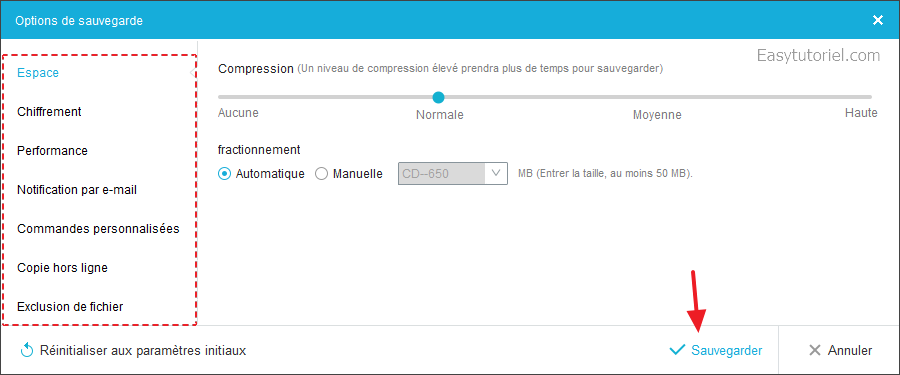 options sauvegarde easeus todo backup