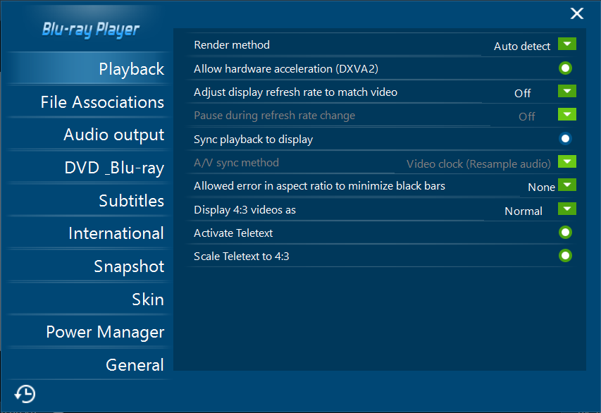 Blu Ray Player Settings