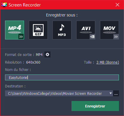 Movavi Screen Recorder Enregistrer Sous