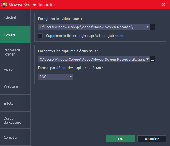 Movavi Screen Recorder Preferences Fichiers