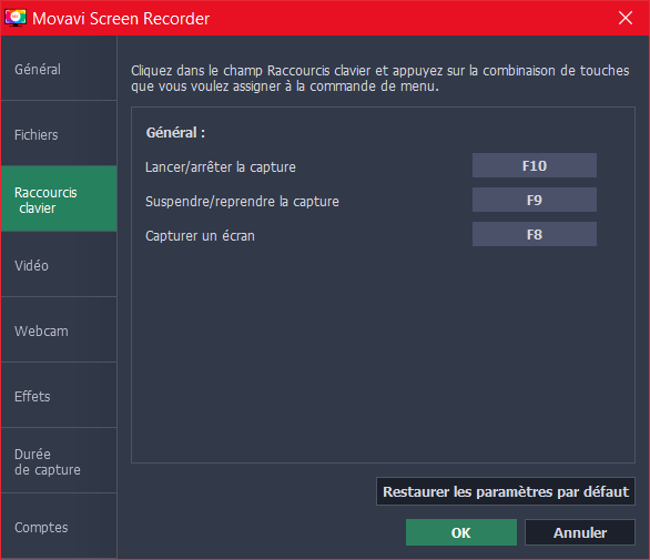 Movavi Screen Recorder Preferences Raccourcis Clavier